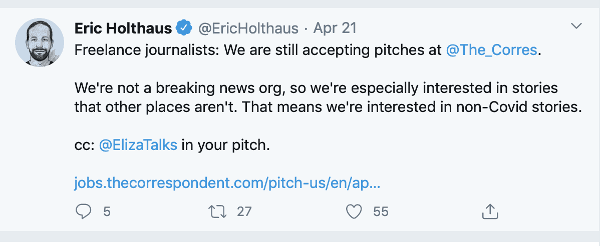 screenshot of tweet accepting story pitches