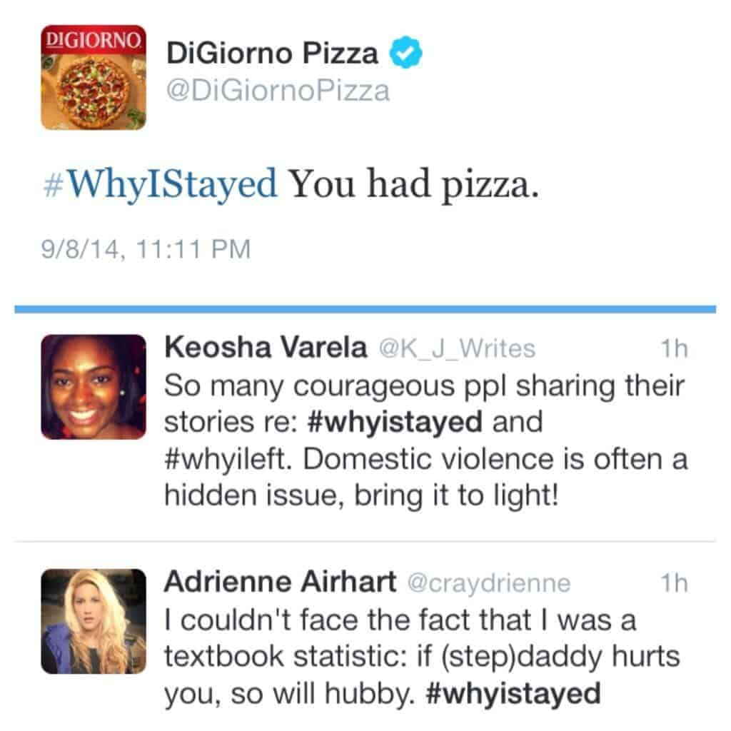 #WhyIStayed pizza fail
